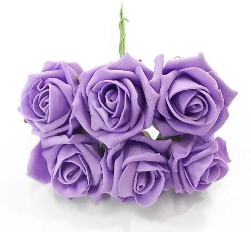 foam roos Princess Kleurvast Lila 6 cm. BUNDEL 6 foamroos
