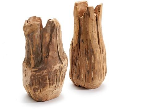 Weathered wood vase 12x12x29cm Smal hoog Homedeco