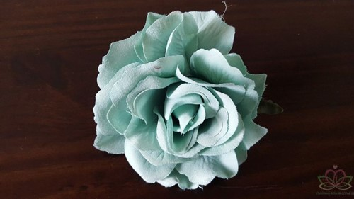 Roos Ijsblauw 10 cm. Zijderoos / 3 stuks OP=OP Roos Zijderoos