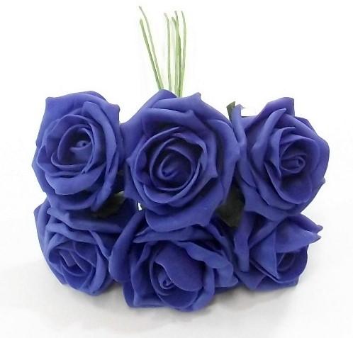 foam roos Princess Kleurvast Royal Blue 6 cm. BUNDEL 6 Koningsblauw