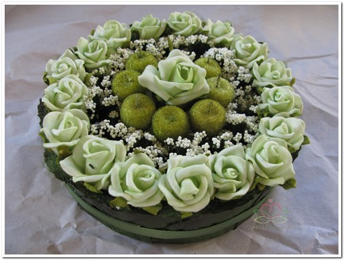 Actie Taart foambloemen- Rose Cake 15 cm. Groen  Taart foambloemen