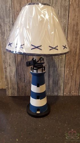 Maritiem Schemerlamp Tafellamp vuurtoren blauw/wit 40cm. Maritieme lamp