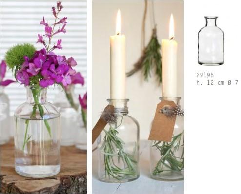 Glas vaas Flesje Glas voor Schelpen of Olielamp 12*7cm. Olielamp maken
