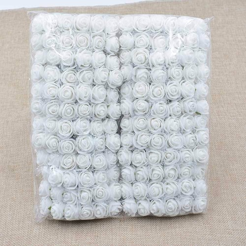 Actie Mini foamrose met tule SPIERwit BULK pak 144 st 2 cm.
