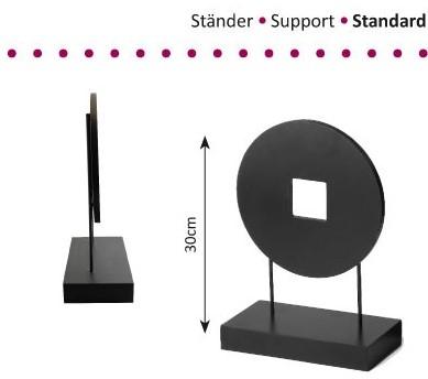 Standaard hout-metaal 1x cirkel 30 cm hoog Standaard hout-metaal 1x