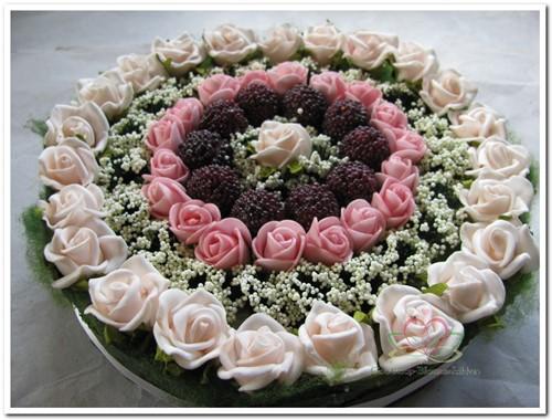 Actie Taart foambloemen- Rose Cake 15 cm. PINKROZE Taart foambloemen