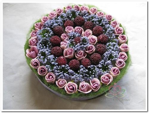 Actie Taart foambloemen- Rose Cake 15 cm. LILAPAARS Taart foambloemen