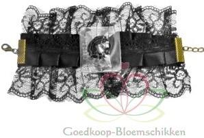 Corsage Polscorsage-armband Vintage Victoria Zwart Kant Corsage Polscor