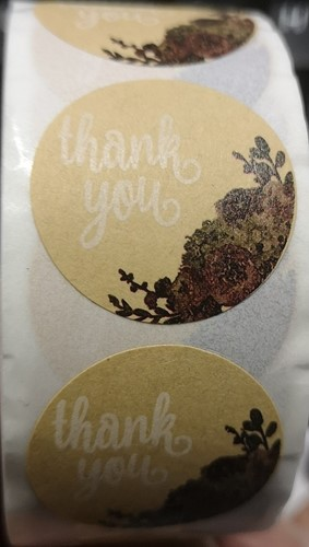 500 Stickers Labels Rol Thank You Vintage bloemen rol kraft etiketten