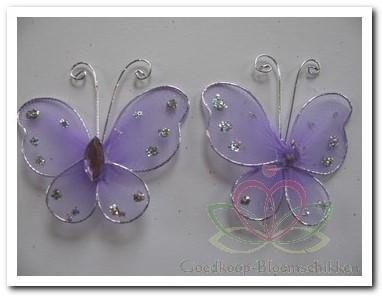 Vlindertjes Lila van zilverdraad 2 cm. /6 stuks Vlindertjes Lila