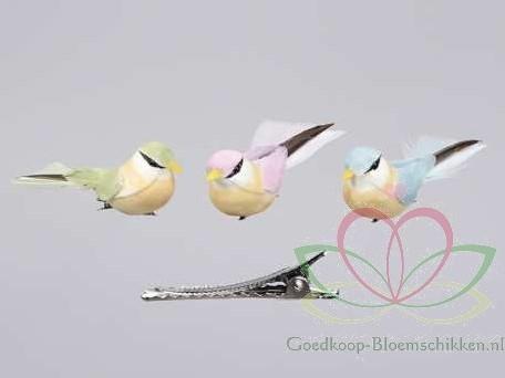 Vogeltjes met clip 9, 5*4, 5 cm. blauw, roze, Groen set Vogeltjes met clip