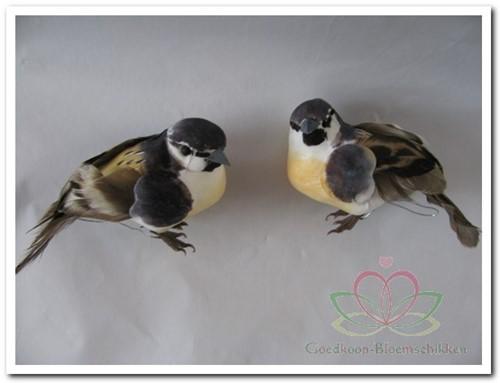 Vogeltjes Grijs + Licht Oranje 9, 5 cm. Per 2 Vogeltjes