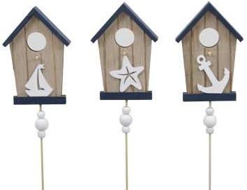 Maritiem houten bijsteker Strandhuisjes 8. 5x11,5cm. Pak3 strandhuisje