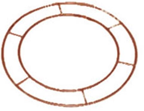 Metalen frame, WIRE RINGS 14 INCH OPEN! Metalen frame, koperkleur