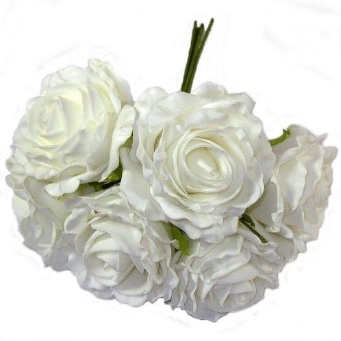 foam roos Groot Sofia2 WIT bundel 6st Grote foamroos vr Flowerw