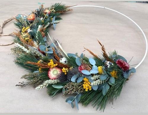 Pakket Metalen ring met Pinus Eucalyptus en droogbloemen