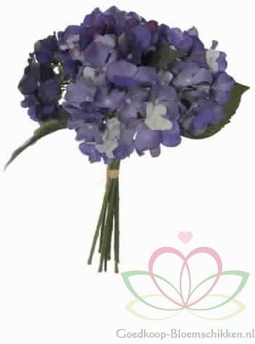 Hortensia Boeketje met *7 Blauw ZIJDE Hortensia