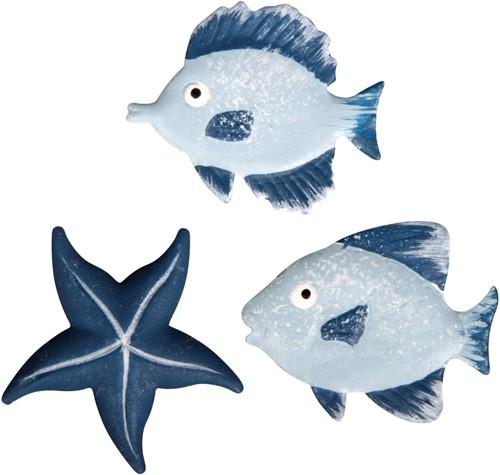 Maritiem metalen sealife vissen + zeester, 2, 7cm, 3 soorten,  Maritiem metalen sealife,