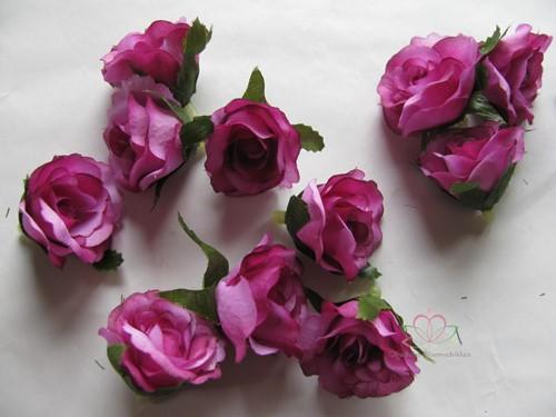 Roosjes 3 cm. Zijde Best Quality Paars 2tone 10 st Roos zijdebloem