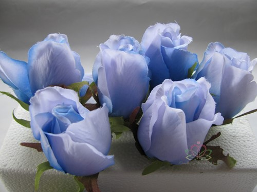 Roosjes 5-6cm. Zijde Best Quality Lichtblauw 2tone 10 st Roos zijdebloem