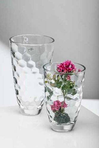 Zware Vaas Cella style 24cm hoog * 16 cm. Origineel glas